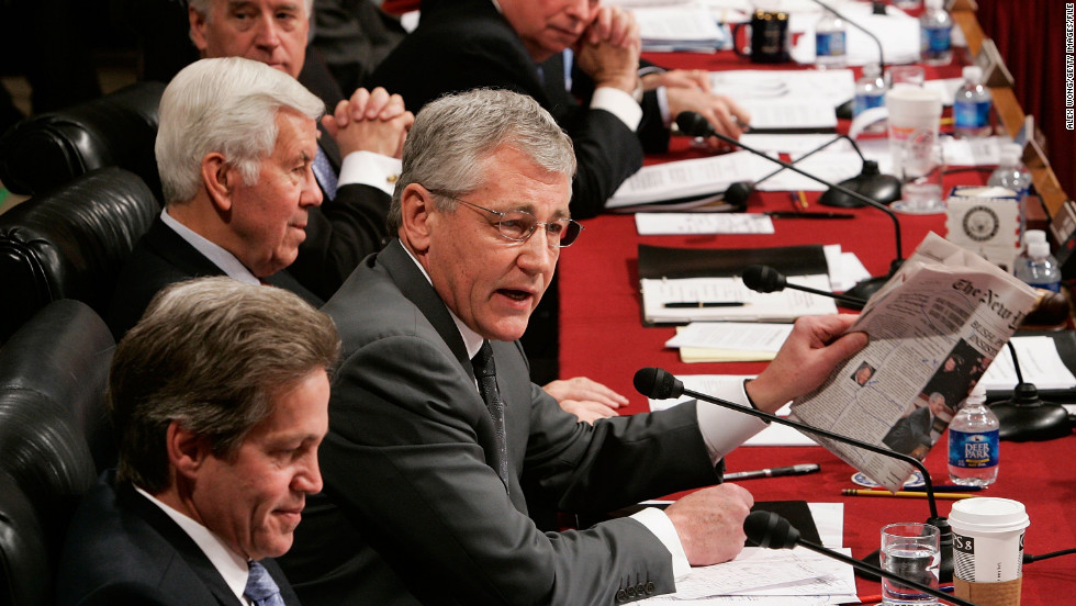 Hagel comments on a New York Times article during a Senate Foreign Relations Committee's consideration of a resolution on the Iraq War in January 2007. The GOP senator opposed the troop surge in Iraq.