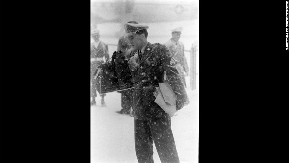 Elvis Presley arrives at McGuire Air Force Base, New Jersey, in March 1960.