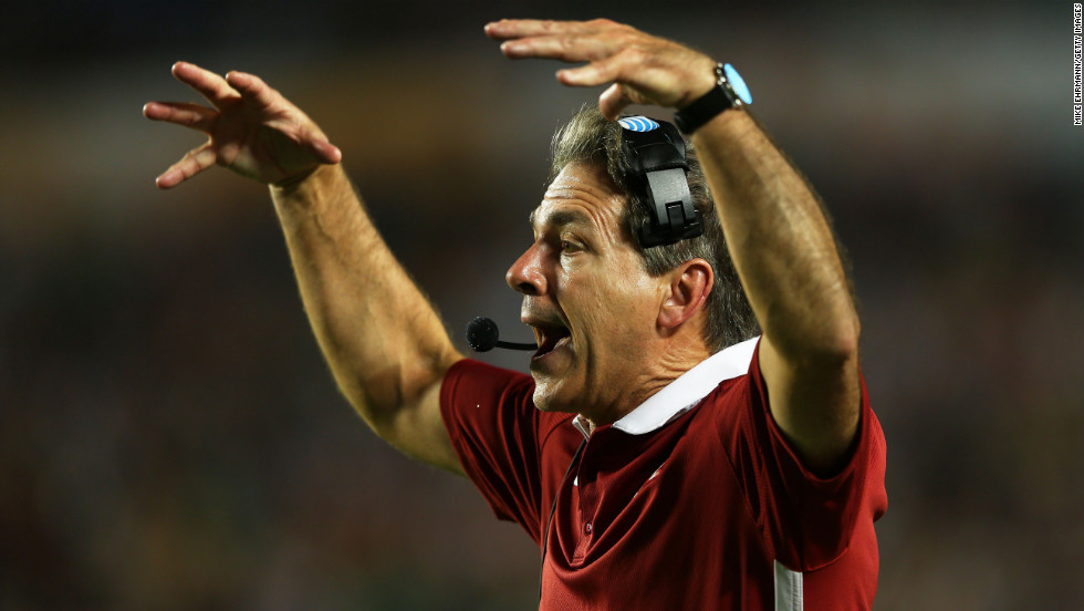 Alabama head coach Nick Saban shouts to his players during the game against Notre Dame.