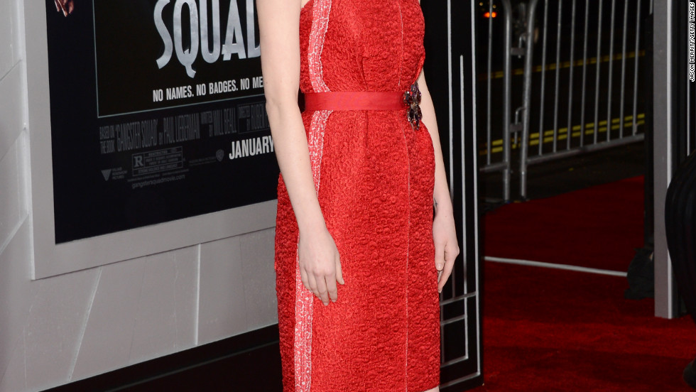 "Emma Stone is photographed at the ""Gangster Squad"" premiere in Hollywood."