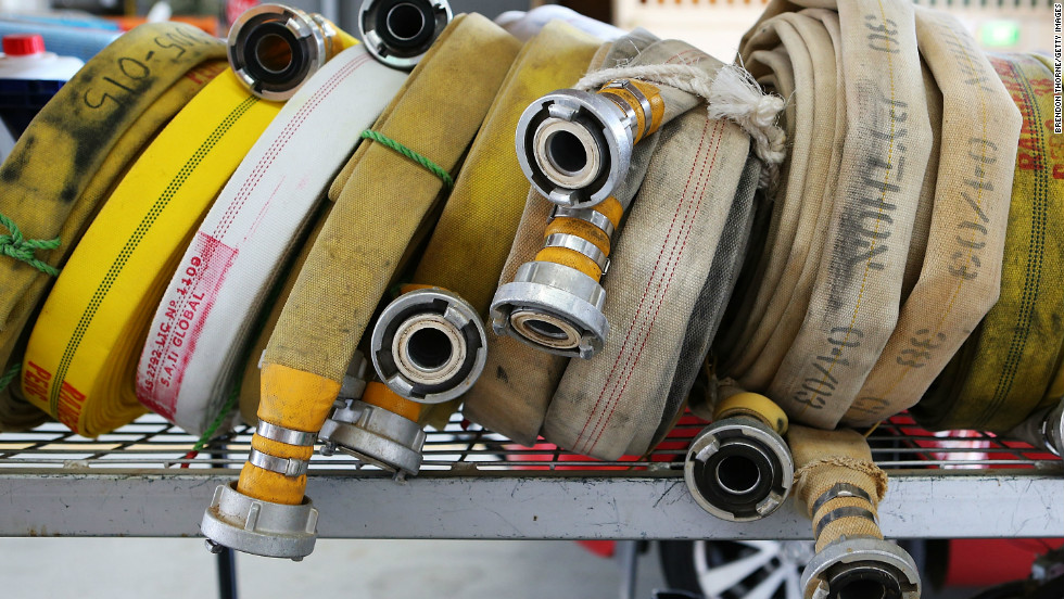 Fire hoses from Bungendore RFS sit on shelves on January 8, 2013 in Bungendore, Australia.