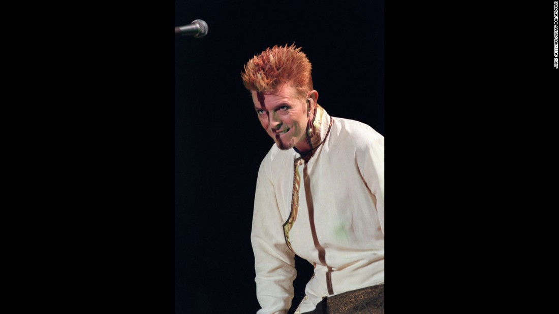 Bowie appears onstage at the Parc des Princes in Paris in June 1997.