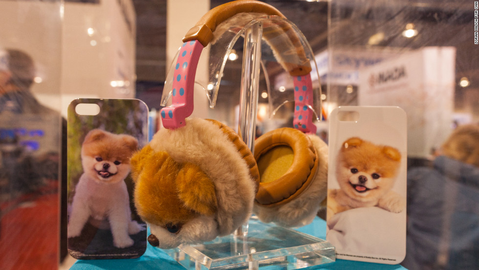 "Boo, billed as ""the world's cutest dog,"" is depicted on furry headphones and iPhone cases made by Audio Technology of New York. They will be available in stores in six weeks."