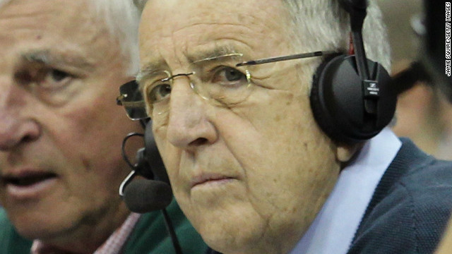 KANSAS CITY, MO - MARCH 10: (L-R) ESPN analysts Bobby Knight and Brent Musburger call the game between the Oklahoma State Cowboys and the Kansas Jayhawks during their quarterfinal game in the 2011 Phillips 66 Big 12 Men's Basketball Tournament at Sprint Center on March 10, 2011 in Kansas City, Missouri. (Photo by Jamie Squire/Getty Images)