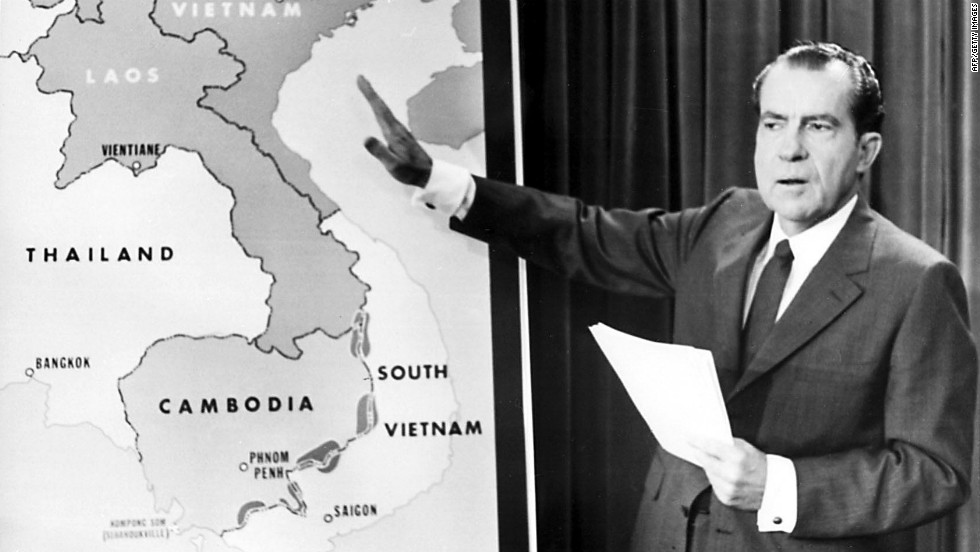 In 1970, Nixon announces the invasion of Cambodia to the American public.