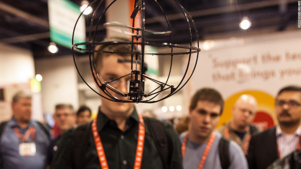 This Orbit toy helicopter from Puzzlebox is controlled via brain waves. The user wears a headset which detects brain electrical activity and wirelessly transmits it to the helicopter, making it fly. The Orbit sells for $189.