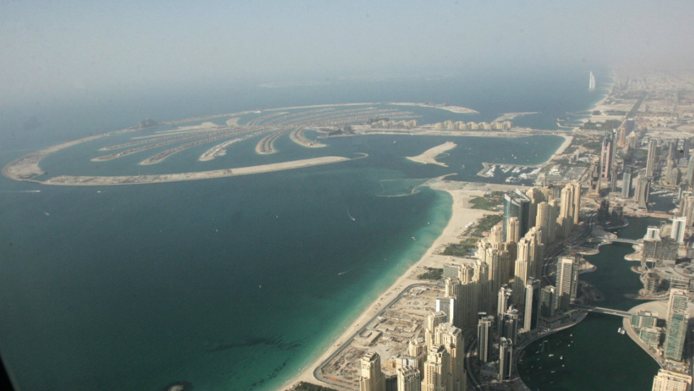 A birds-eye view of the Palm Jumeirah in Dubai.