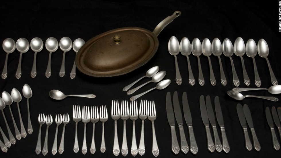 A recurring theme from the amnesty has been the quirky tales behind the items, organizers say. This extensive collection of cutlery and kitchenware was returned by 51-year-old Joe Molick, whose mother was offered the items after her friend -- who worked at the hotel roughly 50 years ago -- said the Waldorf was clearing out old cutlery and kitchen items.