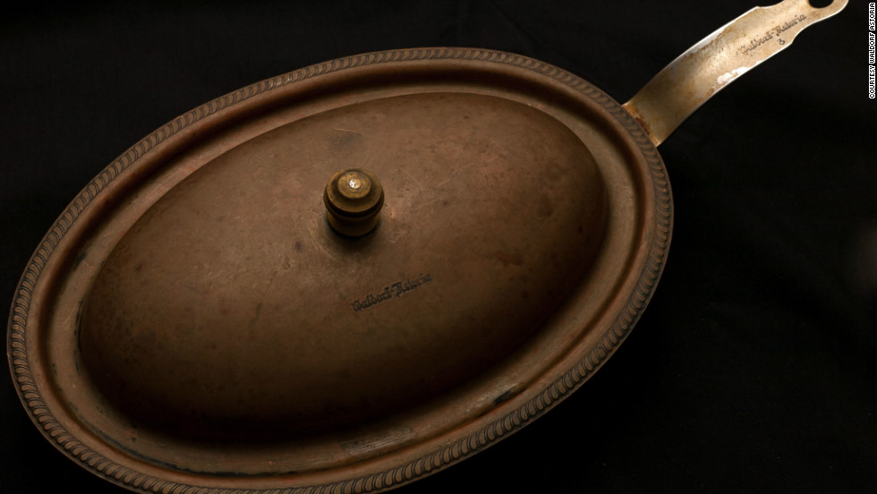 Another donation from Joe Molick, this oval shaped frying pan made of copper and stainless steel is engraved with unmistakeable Waldorf Astoria insignia on the handle, lid and underneath the pan.