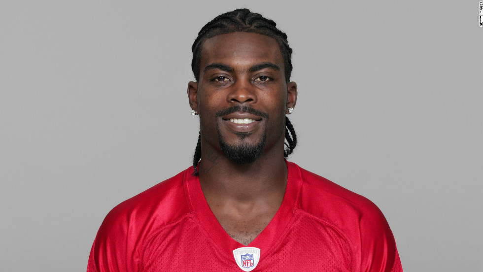 Michael Vick's 2007 Atlanta Falcons NFL headshot. In August 2007, he pleaded guilty to federal felony charges related to dogfighting.   Vick served 21 months in prison and is now playing for the Eagles.