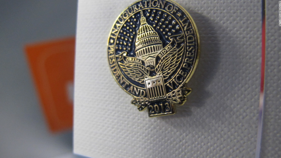 Accessories include an Inaugural seal lapel pin for $15.