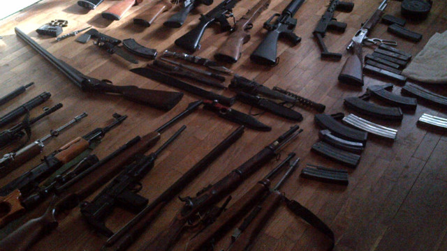 Police seized the pictured weapons, allegedly belonging to Aaron Greene, from the home of a friend of Greene's.