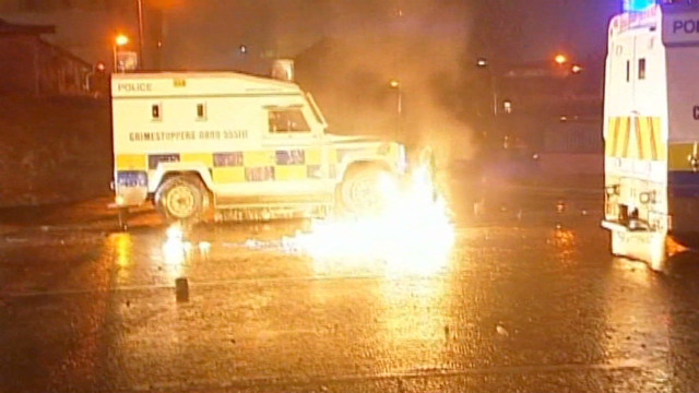 Police clash with protesters in Belfast