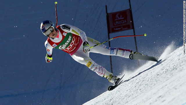 U.S. skier Lindsey Vonn competes during the Alpine Ski World Cup women's downhill in St. Anton on January 12.
