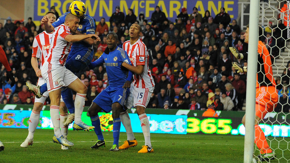 Then, 17 minutes into the second half, the 29-year-old again headed past Stoke goalkeeper Asmir Begovic, this time from a corner by Juan Mata, to make it 2-0.