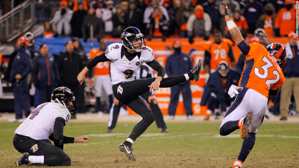 Justin Tucker kicks a 47-yard field goal in the second overtime to give the Baltimore Ravens a 38-35 victory over the Denver Broncos in an AFC Divisional Playoff game at Sports Authority Field at Mile High in Denver on Saturday.