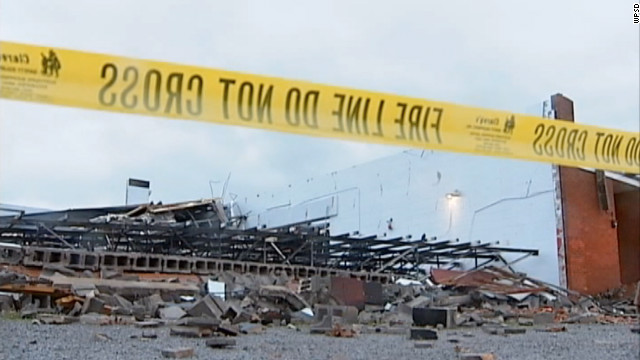 High winds caused the North Livingston Baptist Church in Hampton, Kentucky, to collapse.