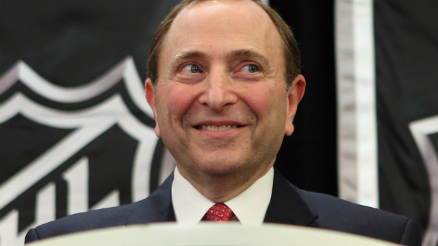 National Hockey League Commissioner Gary Bettman speaks with the media at a press conference announcing the start of the NHL season.