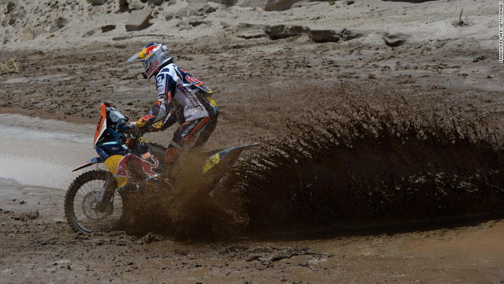 KTM rider Cyril Despres encounters some mud between Salta and Tucuman, Argentina, on Saturday, January 12.