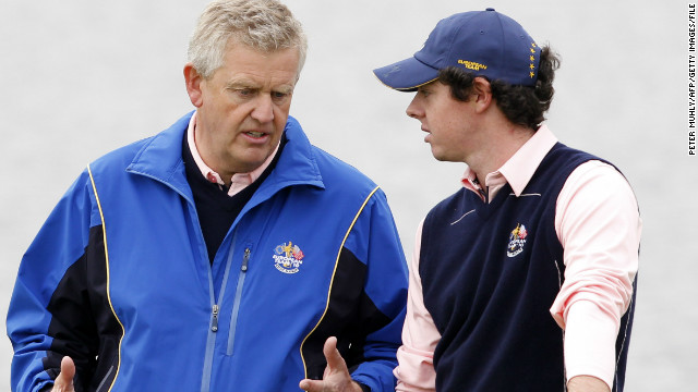 Rory McIlroy, right, talks with his then Ryder Cup captain Colin Montgomerie before Europe's 2010 victory in Wales.