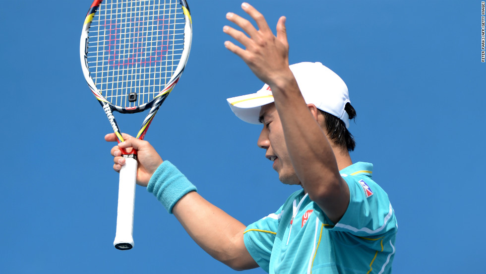 Japan's Kei Nishikori gestures after playing a stroke to Romania's Victor Hanescu during their men's singles match on January 14. Kei won 6-7(5) 6-3 6-1 6-3.