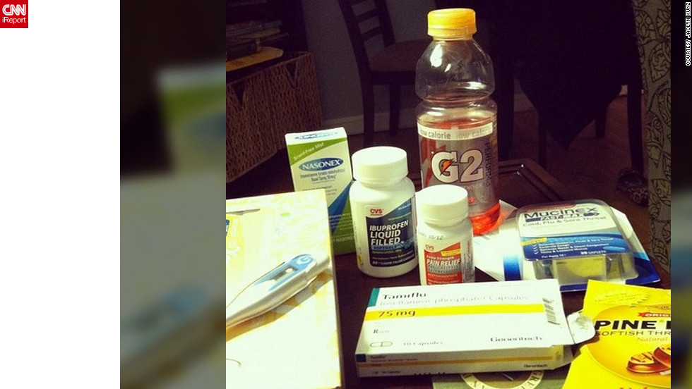 """<a href=""""http://ireport.cnn.com/docs/DOC-909529"""">Jaclyn Kunz</a> from East Rockaway, New York, never had the flu until this year. But now that she is sick, she says cough drops, sports drinks, a variety of cold and flu medications and """"bad television"""" are helping her get through her flu."""