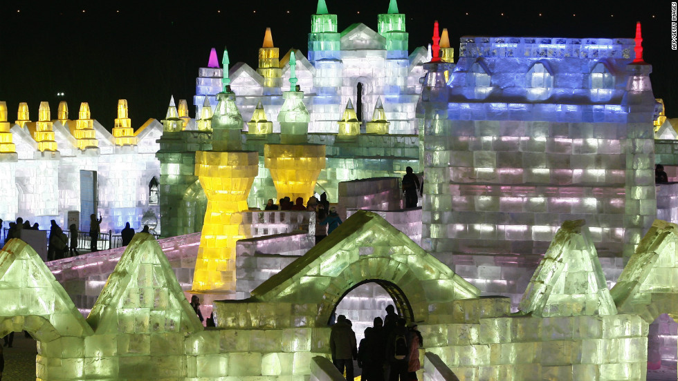 "People visited ""Ice and Snow World"" during the opening ceremony of the 2013 Harbin International Ice and Snow Festival in China in early January. This year's ""Ice and Snow World"" features ice castles and fairytale sculptures with LED lights."