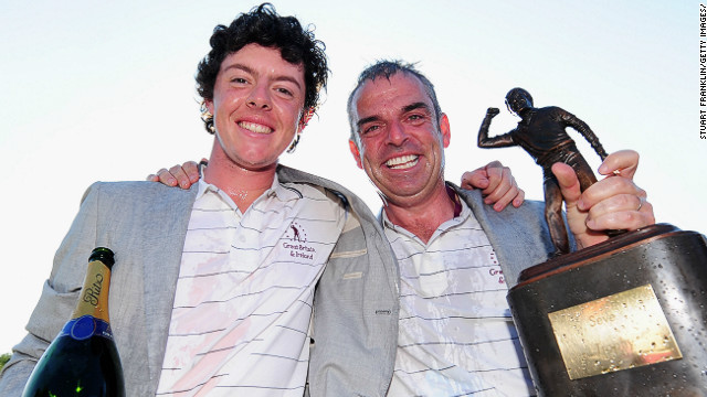 Paul McGinley (R) captained Rory McIlroy in the Seve Trophy in 2009 when GB & Ireland took on Continental Europe
