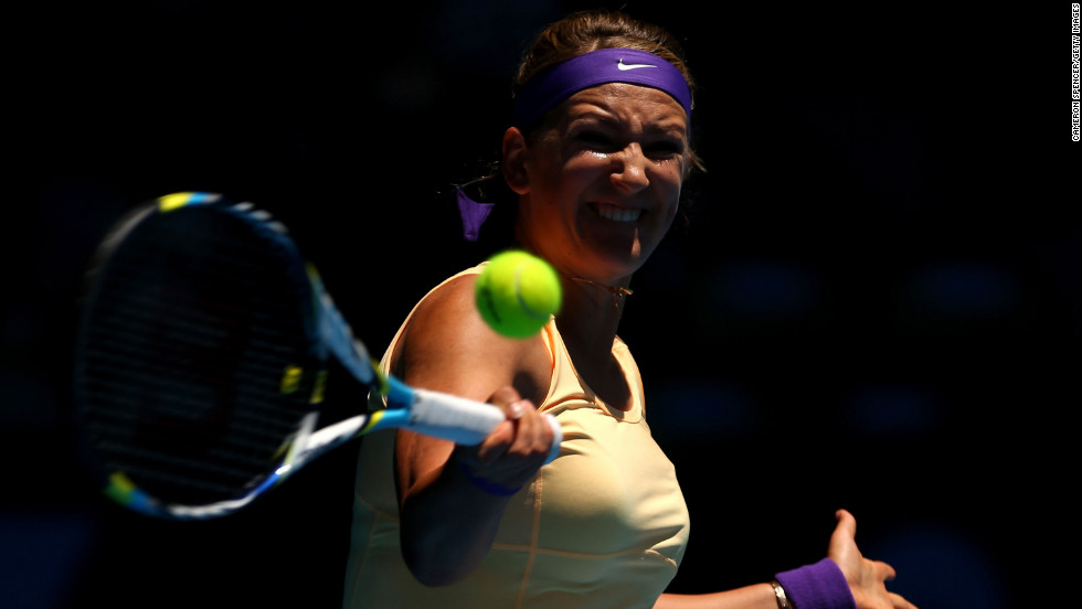 Victoria Azarenka of Belarus plays a forehand in her first-round match against Monica Niculescu of Romania on January 15. Azarenka defeated  Niculescu 6-1, 6-4.