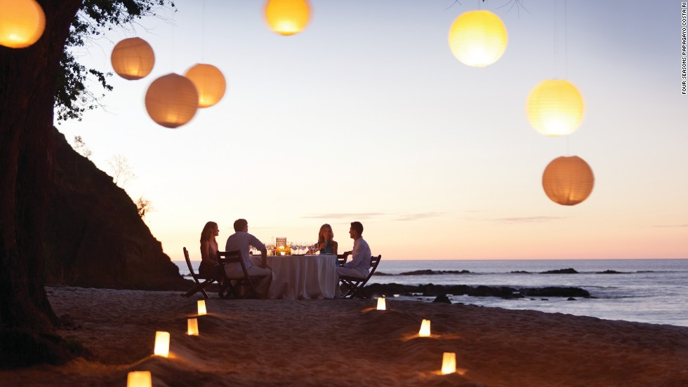 A romantic dinner on the beach is just one of the perks of staying at the Four Seasons on Costa Rica's Papagayo Peninsula.