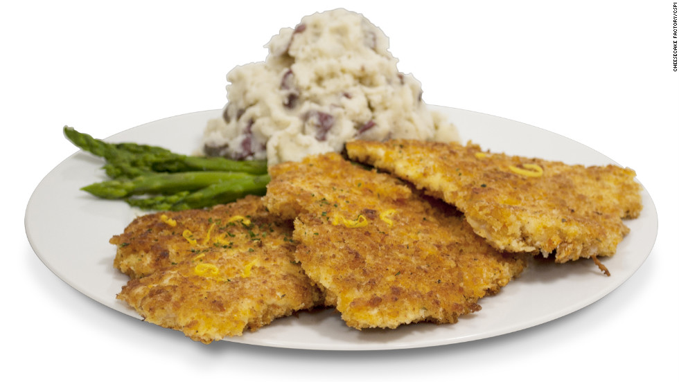 The Cheesecake Factory's crispy chicken costoletta packs 2,610 calories, 89 grams of saturated fat and 2,720 milligrams of sodium. That's more calories than an entire KFC 12-piece original recipe bucket of chicken.