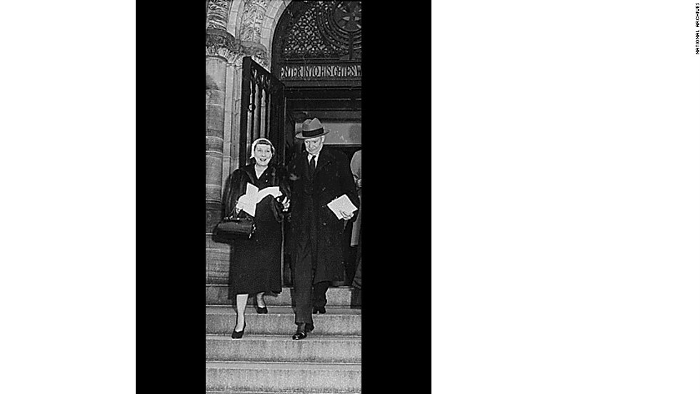 Mamie and President-elect Dwight Eisenhower leave church on the morning of his inauguration in 1953.