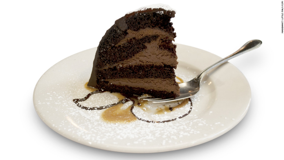 The chocolate zuccotto cake at Maggiano's Little Italy weighs a little bit less than a pound. It has 1,820 calories, 62 grams of fat and 26 teaspoons of added sugar. You might as well eat 15 Hostess Ho Hos, CSPI says.