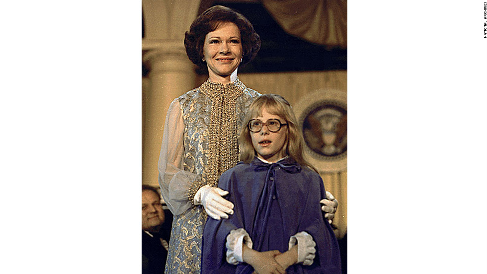 First lady Rosalynn Carter and daughter Amy attend President Jimmy Carter's inaugural ball in 1977.