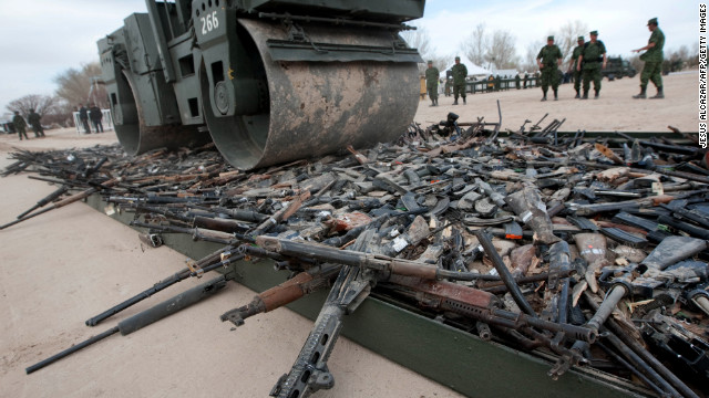 Thousands of confiscated firearms are destroyed last year in the border city of Ciudad Juarez, Mexico.