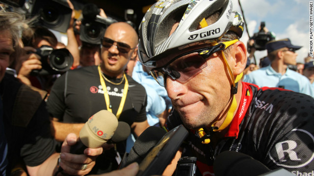 American Lance Armstrong with team RadioShack speaks to the media following the end of stage eight of the Tour de France July 11, 2010 in Avoriaz , France.
