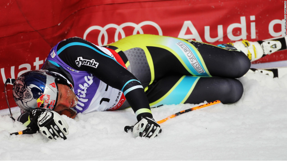 Crashes are an occupational hazard in alpine skiing and though this tumble looks bad, it was nothing compared to the smash Svindal had at Beaver Creek, Colorado in November 2007. He suffered broken bones in his face and abdominal injuries that kept him out for almost an entire season.
