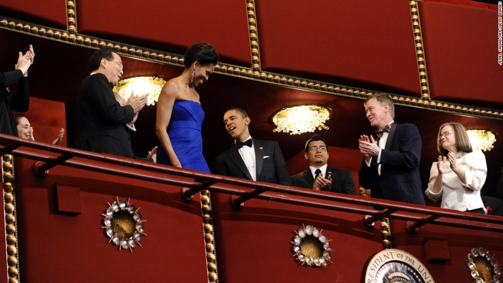 The first lady wore a Vera Wang gown to the Kennedy Center Honors at the Kennedy Center in Washington on December 4, 2011.