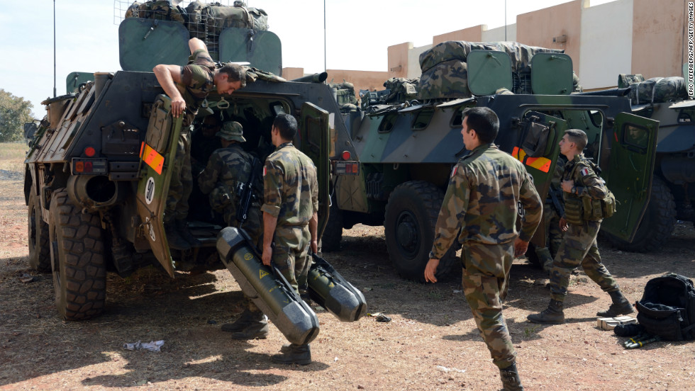 French troops prepare their Sagaie armoured all terrain vehicles from the Licorne operation based in Abidjan, Ivory Coast, at the 101st military airbase near Bamako on Wednesday.