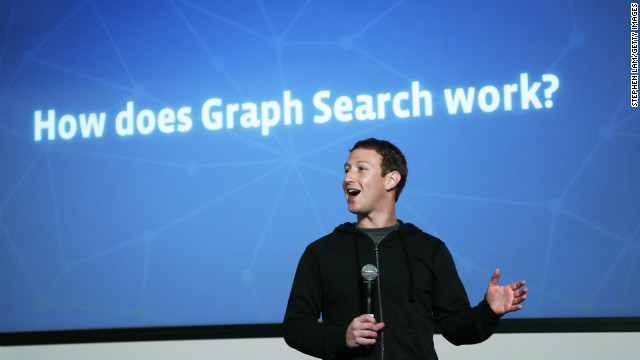 "Facebook CEO Mark Zuckerberg introduces the company's new ""Graph Search"" tool at a press event Tuesday in California."