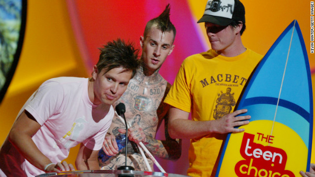 Blink-182 in 2004: Mark Hoppus, left; Travis Barker, center; and Tom DeLonge, right