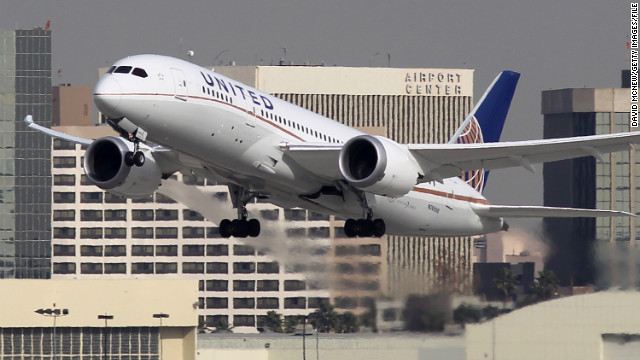 LOS ANGELES, CA - JANUARY 9:  A Boeing 787 Dreamliner operated by United Airlines takes off at Los Angeles International Airport (LAX) on January 9, 2013 in Los Angeles, California. Two separate 787 jets operated by Japan Airlines (JAL) experienced mechanical problems in Boston this week. A fuel leak during takeoff forced one to return to the terminal the day after a fire erupted aboard a different Dreamliner parked at a gate shortly after landing.  (Photo by David McNew/Getty Images)