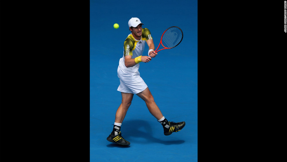 Andy Murray of Britain plays a backhand in his second-round match against Joao Sousa of Portugal on January 17. Murray defeated Sousa 6-2, 6-2, 6-4.