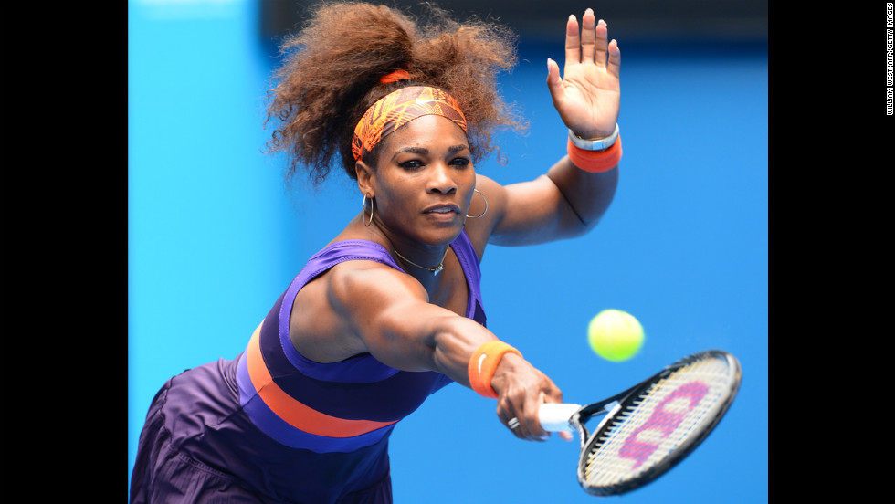 Williams plays a return during her women's singles match against Muguruza Blanco on January 17.