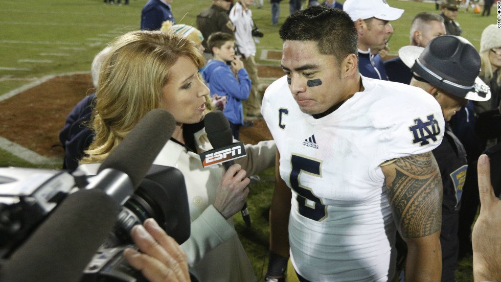 Te'o is interviewed by ESPN after the game between the Oklahoma Sooners and the Notre Dame Fighting Irish in Norman, Oklahoma, on October 27. The Fighting Irish defeated the Sooners 30-13.