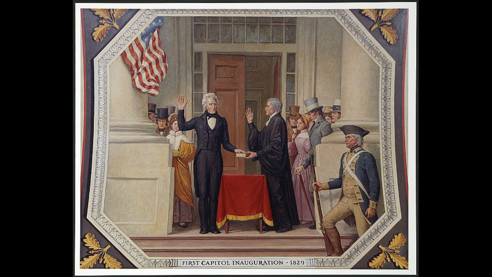 Andrew Jackson was inaugurated for his first term on March 4, 1829, on the east portico of the U.S. Capitol.