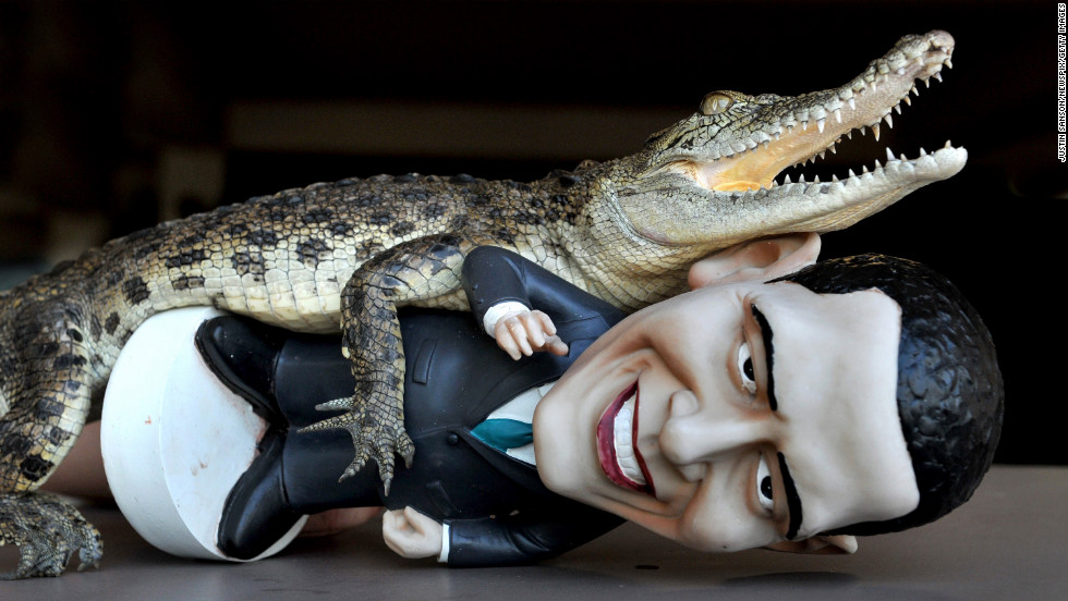 "AUSTRALIA: ""Charlie,"" a baby saltwater Crocodile, grabs a figurine of Obama at Crocodylus Park on October 18, 2011, in Darwin, Northern Territory."