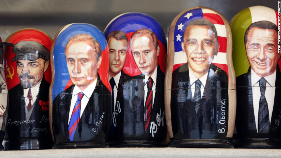 RUSSIA: World leaders past and present are depicted on Russian matryoshka dolls at a souvenir stall in Saint Petersburg on June 20, 2012.