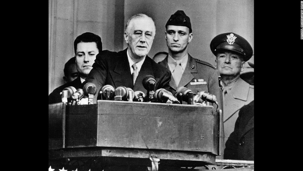 Franklin D. Roosevelt delivers his fourth and final inauguration speech on January 20, 1945. He was the last president allowed to hold more than two terms.