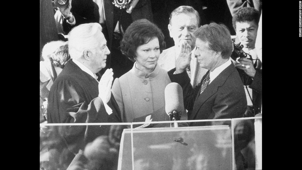 Jimmy Carter is sworn in on January 20, 1977.